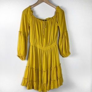 Lumiere Yellow Boho Dress Size Medium